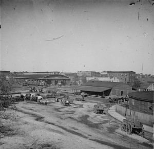 Atlanta's railroad depot and yard fueled the wartime economy. TheTrout House and Masonic Hall are in the background. Credit: Library of Congress