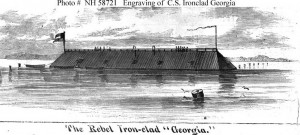 Confederates scuttled the CSS Georgia rather than allow her to be captured by Union Forces. Credit: civilwaralbum.com
