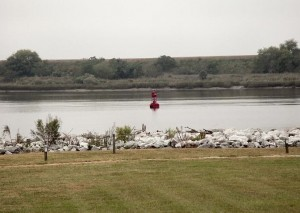 The red buoy marks the site of the CSS Georgia, located near Fort Jackson. Credit: civilwaralbum.com