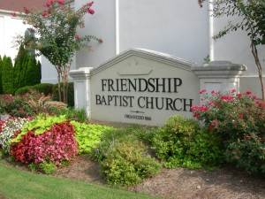 Friendship's beautifully landscaped sign