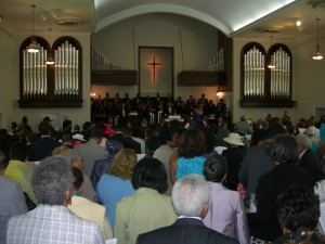 """Congregation sings """"We Are Marching to Zion"""""""