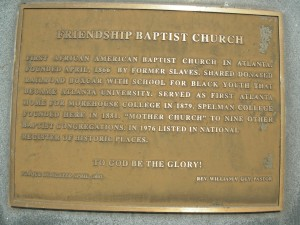 A plaque about Friendship's history