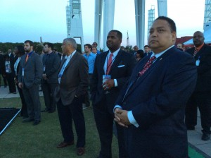 City Council President Ceasar Mitchell and Councilman Michael Julian Bond listen to Frank Poe at ground-breaking ceremony (Photos by Maria Saporta)