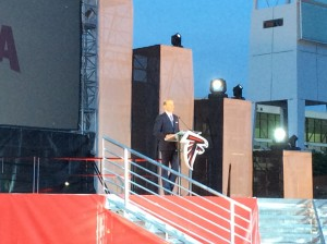 Don Garber of Major  League Soccer addresses crowd at ground-breaking