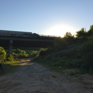 Noonday Creek Trail passes beneath I-75 along a stretch that combines a rural and urban experience. Credit: David Pendered