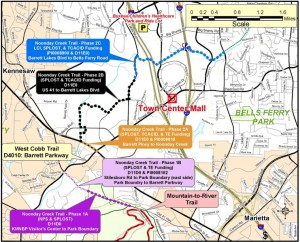 Noonday Creek Trail will connect the Kennesaw Mountain Battlefield Park with an area west of Town Center retail district. Credit: Town Center Area Community Improvement District