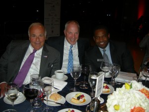 Former Pennsylvania Gov. Ed Rendell, Comcast's Andy Macke, Atlanta City Council President Ceasar Mitchell at Wednesday night dinner