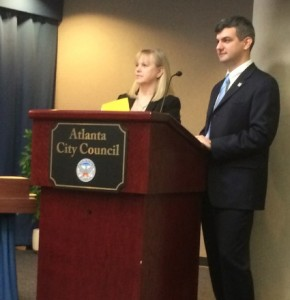 Pam Joiner, Sweet Auburn Curb Market's manager, and board member Matthew Kulinski, told a committee of the Atlanta City Council that the market is on an upswing. Credit: David Pendered