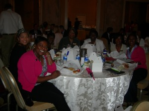 A sign of LINK's growing diversity: a table of seven African-American women. They observed that a couple of years ago, they probably would not have been able to fill a table. (And no, they didn't just hang out together)