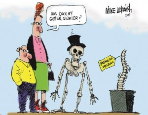 Special editorial cartoon drawn by Pulitzer Prize-winning journalist Michael Luckovich in memory of Emory's journalism degree