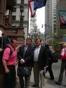 Gwinnett's Nick Masino Pope & Land's Mason Zimmerman; and developer Emory Morsberger in downtown Philadelphia
