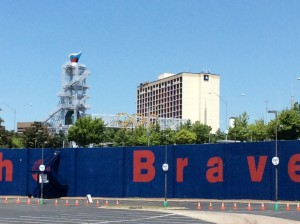 Atlanta's Olympic caldron with the five Olympic rings as they stand today (Photo by Maria Saporta)