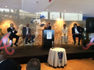 Panel discussion with Rev. C.T. Vivian, Edwin Moses, Doug Shipman, Jackie Joyner-Kersee and Joe Barry Carroll at annual luncheon (Photos by Maria Saporta)