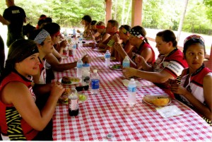 """Cyclists taking a break during the """"Remember the Removal"""" bike ride, in which cyclists retrace the Trail of Tears. Credit: Fall Creek Falls.org"""