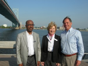 Architect Robert Brown who serves on GDOT board; Penny McPhee, president of the Arthur M. Blank Family Foundation; and David Allman, developer with Regent Partners who serves on GWCCA board on the Philadelphia side of Delaware River