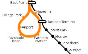 Map being distributed by the Citizens for Progressive Transit on a likely MARTA rail line through Clayton County