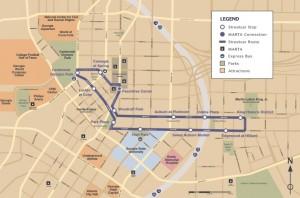 The route of the Atlanta Streetcar intends to pass major destinations in downtown Atlanta. Credit: streetcar.atlantaga.gov