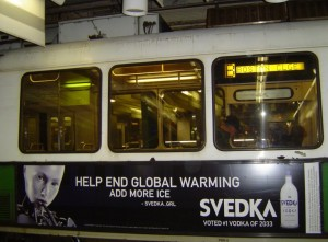 Boston's transit system banned alcohol advertising in 2012, outlawing ads like this one that appeared in other cities. Credit: bostontoat.blogspot.com