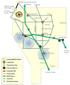 This is the vision for a proposed Clayton County transit system in 2016, if voters approve a sales tax for public transit. Credit: Clayton County