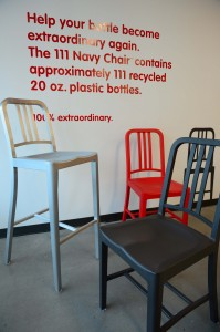 Chairs made of recycled plastic Coke bottles
