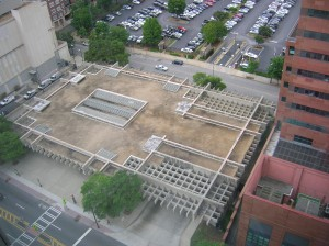 An aerial view of MARTA's Midtown station showing development potential of the air rights (Courtesy of MARTa)