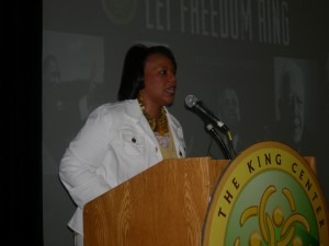 Bernice King in 2013 at a King Center event kicking off activities for the 50th anniversary of the March on Washington (Photos by Maria Saporta)