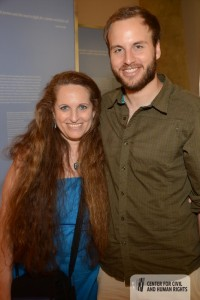 Photo of Maria Saporta and her son, David Luse, taken at the VIP reception on June 22 (Photo courtesy of the Center)