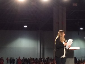 Chelsea Clinton addresses the crowd before moderating her panel