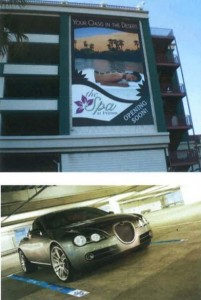 Alcohol ads could appear on parking structures and the painted lines between parking spaces. Credit: MARTA