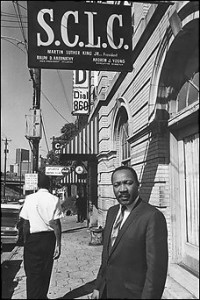 Martin Luther King Jr. outside the SCLC offices on Auburn Avenue, 1967. Credit: Benedict J. Fernandez