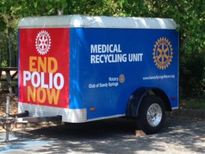 The Rotary Club of Sandy Springs provided this permanent donation trailer to accept medical devices and placed it at Morgan Falls Overlook Park, in Sandy Springs. Credit: FODAC