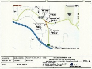 Georgia highway planners intend to improve the approach to the Tiger Creek bridge while it is being replaced with a new bridge. Credit: GDOT