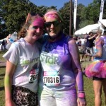 Photo of columnist Michelle Hiskey and daughter after Color Vibe 5K in Atlanta.