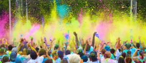 Participants in a color run wear white and create spectacles like this. (Credit: Color Vibe 5K).
