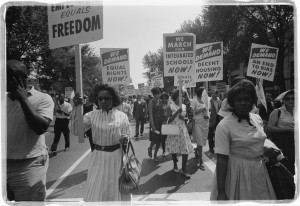 Women marching during the civil rights movement, 1960s.