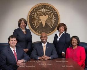 Official photo of Clayton County Commission Left to right: Michael Edmondson, Shana Rooks, Jeffrey Turner, Sonna Singleton and Gail Hambrick