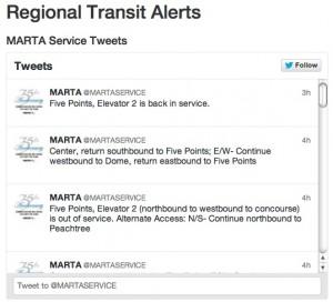 Tweets from all four regional transit providers are visible at one site, ATLtransit.org. Here's a thread of just one provider, MARTA. Click on the image for a larger version. Credit: ATLtransit.org