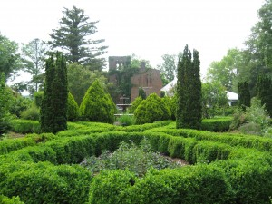 The ruins of the mansion, along with restored gardens, at Barnsley Gardens today.