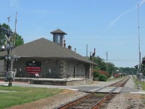 Looking north at the historic Jonesboro train station with rails leading to Atlanta