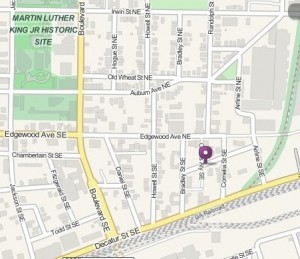 Dad's Garage Theatre is slated to open in late 2014 in a building that now houses a church in Old Fourth Ward. The theatre is to open at the dot on this map. Credit: mapquest.com