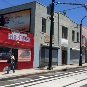 Thelma's Rib Shack is one of a few businesses still open along this section of Auburn Avenue, near the Downtown Connector. Credit: David Pendered