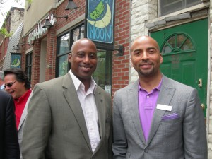 Clayton Chairman Jeff Turner with MARTA CEO Keith Parker in Philadelphia (Photo by Maria Saporta)
