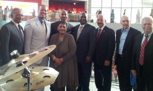 Gathering of MARTA's general managers and friends (left to right): Harold Buckley - MARTA board member; Fred Daniels - former MARTA chairman; Keith Parker - current MARTA GM; Beverly Scott - former MARTA GM; Nat Ford - former MARTA GM; Richard Simonetta - former MARTA GM; Ken Gregor - former MARTA GM; and Richard McGrillis - former MARTA GM (Photo by Jennifer Jinadu-Wright)
