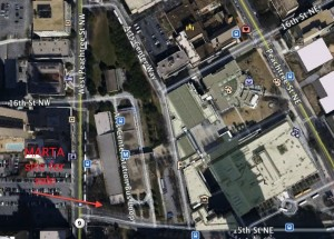 MARTA intends to sell a small tract of land south of its Arts Center Station. Credit: Google Earth, David Pendered