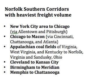 Norfolk Southern provided this list of its busiest freight corridors in a report to the federal Securities and Exchange Commission. Credit: sec.gov