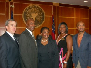 Left to right: MARTA Chair Robbie Ashe, Clayton Chair Jeff Turner, Clayton Vice Chair Shana Rooks, Clayton COO Arrelle Anderson and MARTA CEO Keith Parker after the vote (Photos by Maria Saporta)