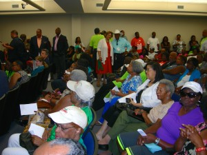 Pro-transit advocates fill the room on Saturday morning on holiday weekend