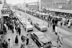 Martin Luther King Jr. leads a march through Albany, Ga., on Dec. 16, 1961. Credit: Rich Cohen, New York Times