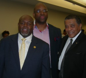 Rep. Mike Glanton, William Hill of the Community Impact Center, and former Clayton Chair Eldrin Bell before the vote