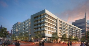 The Hanover Co. won praise from the Midtown DRC for the design of retail shops to face 10th Street. Credit: midtownatl.com